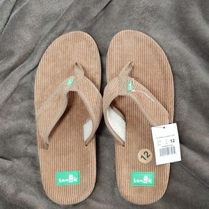 New Sanuk Mens Furreal Cord tan Size 12 flip flop